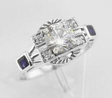 Sterling Silver CZ / Sapphire Filigree Ring Art Deco Style Size 7 Real Sapphire