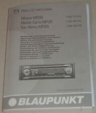 Manuale di istruzioni BLAUPUNKT AUTORADIO Milano, Monte Carlo, San Remo mp26, 3/2006