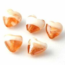 5 PCS Champagne Heart CZ Murano Glass Charms Loose Beads  Fit  DIY A2830