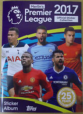 Topps Merlin's ~ Premier League 2017 ~ Sticker Collection Album & 6 Stickers