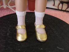 "GOLD MARY JANE STYLE SNAP ON DOLL SHOES & WHITE SOCKS 4 TONNER 14"" BETSY McCALL"