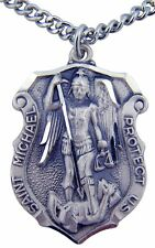 St. Michael Large Sterling Silver Medal with Chain (SS9393)