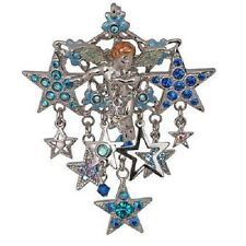 NEW KIRKS FOLLY CELESTIAL ANGEL IN THE STARS PIN ENHANCER SILVERTONE MADE IN USA