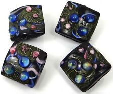 Lampwork Handmade Glass  Black Lace Square Beads