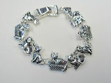 Silver Plated Kitty Cat Kitten Charm Bracelet With Magnetic Clasp # 3483  New