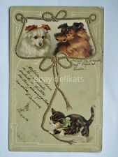 GATTO CAT CANE DOG AK old postcard vecchia cartolina
