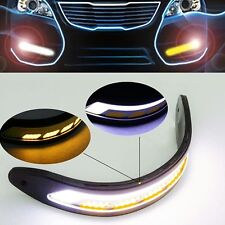 2PCS Flexible White & Yellow Car COB LED Daytime Lights DRL with turn Signal 20W