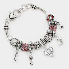 I Love You to the Moon and Back Bracelet Sliding Bead Charm SILVER Forever Heart