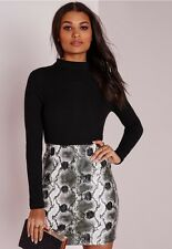 MISSGUIDED WOMENS contrast rib dress SIZE 12 faux leather snake skirt black