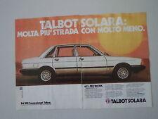 advertising Pubblicità 1981 TALBOT SOLARA