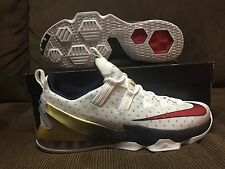Nike Lebron 13 XIII LOW USA GOLD MEDAL NBA Size 13US RED/WHITE BLUE NEW