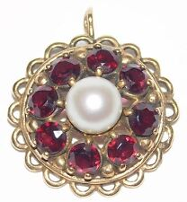 Antique Victorian 14k Yellow Gold Garnet & Real Pearl Pendant
