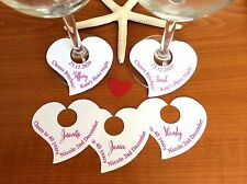 10 Place Cards Gift Tags Hens Night Personalised Heart Wine Glass Names