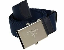NEW PRADA MEN'S BLUE SAFFIANO LEATHER CANVAS LOGO BUCKLE BELT 90/36