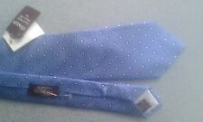 TM LEWIN SILK TIE - BLUE WHITE SPOT  NEW WITH TAGS