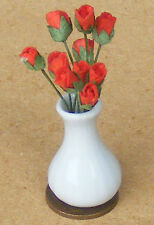 1:12 Scale Ten Red Paper Roses In A Vase Dolls House Flower Accessory W59