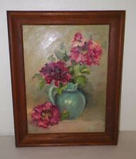 """VINTAGE OIL PAINTING ON BOARD FLORAL FLOWERS IN A POT PINK FRAMED 18 3/4"""""""