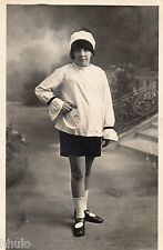 BM140 Carte Photo vintage card RPPC Femme mode fashion tunique blanche jupe