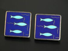 Vtg 60s 70s  Fish Fishing Fishermen Gold Tone Blue Enamel CuffLinks