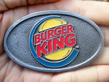 Vtg BURGER KING Belt Buckle FAST FOOD Whopper LOGO Hamburger Pewter RARE VG++