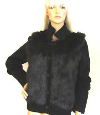 New Juicy Couture Black Faux Fur Front Knitted Cuff Sleeves Cardigan  Size Large