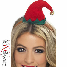 Christmas Elf Mini Hat on Headband with Bell Stocking Filler Fancy Dress Red