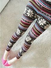 Winter Colorful Patterned Warm Leggings Snowflake Christmas Gift