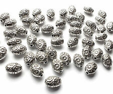 50 x 8mm Antique Silver Plated Oval Flower Daisy Spacer Beads, jewellery craft