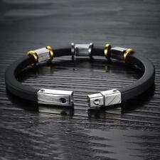 Fashion Unisex Men's Silicone Stainless Steel Magnetic Clasp Bracelet Wristband
