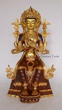"14.75"" Maitreya Buddha Gold Gilded with Face Painted Copper Statue Patan, Nepal"