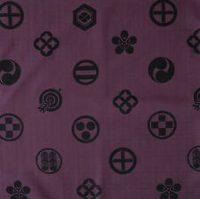Kamon Crest Deep Purple Japanese Dobby Cotton Fabric by Half Metre 50cm TG128