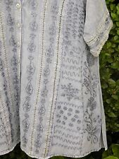 LOOSE FITTING BLOUSE WITH EMBROIDERY METAL BUTTONS + OPENWORK -BUST 46""
