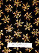 Christmas Snowflake Gold Accented Cotton Fabric Maywood Studio Traditions YARD
