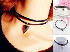 Newly Triangle Pendant Necklace Vintage Chocker Retro Black Leather Cord Chain