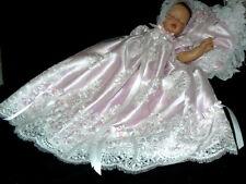 GOWN BABY REBORN  White Lace Pink Satin  Bonnet Shoes Victorian BaptismSZ 0-3M