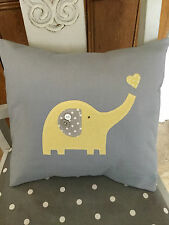 HANDMADE GREY YELLOW ELEPHANT CUSHION COVER nursery baby boy girl modern vintage