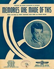 DEAN MARTIN - MEMORIES ARE MADE OF THIS -  60'S VINTAGE SHEET MUSIC AUSTRALIA