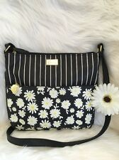 Betsey Johnson bag Zippy crossbody shoulder black white Daisy flower stripe