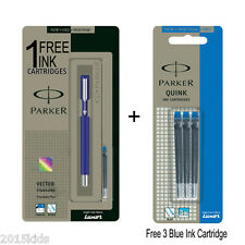 Parker Vector Standard CT Fountain Ink Pen Blue Body Free 4 Blue Ink Cartridge