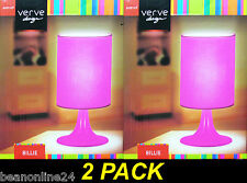 2 x Pink Faux Satin Table / Bedside Lamps - Plug-In 240V E14 Max 40W