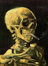 """Skull With Burning Cigarette by Vincent Van Gogh, 8""""x11"""" Canvas Art Print"""