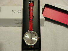 """AVON Walk on the Wild Side Watch SNAKE PRINT Red 9"""" Faux Leather Band Silvertone"""