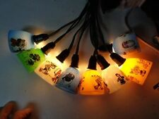 8 Vintage 1930's Christmas Light C-6 Cartoon Shades with Cord