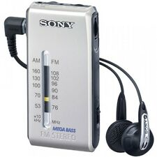 F/S Sony Stereo FM/AM pocket Radio Silver SRF-S86 S Freeshipping From japan