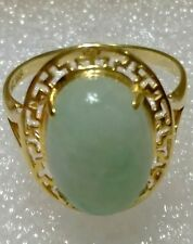 ESTATE 14K SOLID YELLOW GOLD NATURAL JADE RING SIZE 7.25