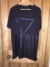 "River Island Black Graphic Oversized Long T-Shirt Size L AtoA24"" L32"" BNWT *R1"