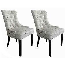 Esszimmerstühle 2er Set Polsterstuhl Cocktailsessel mit Schriftdesign Stoff weiß