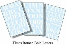 96 x1 inch(25mm) MATT WHITE TIMES ROMAN LETTERS AND NUMBERS VINYL  SELF ADHESIVE