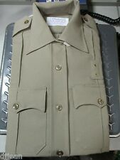 Conqueror W1468 Khaki Long Sleeve Police Uniform Shirt Size Mens 36R