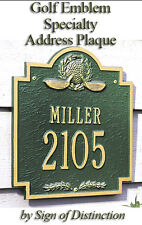 Whitehall Golf Emblem Personalized Plaque Address Sign with 17 Color Choices